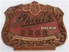 STROH'S BOHEMIAN BEER PLASTER SIGN