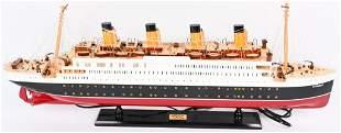 RMS TITANIC WOOD MODEL LIGHTED SHIP