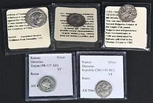 5- ANCIENT SILVER COINS, ROMAN & BULGARIAN
