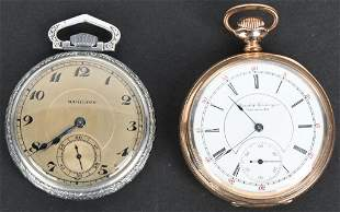 2- POCKET WATCHES 16S, M & K, and HAMILTON