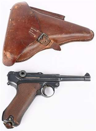 WW1 P-08 1917 LUGER PISTOL BY DWM WITH HOLSTER