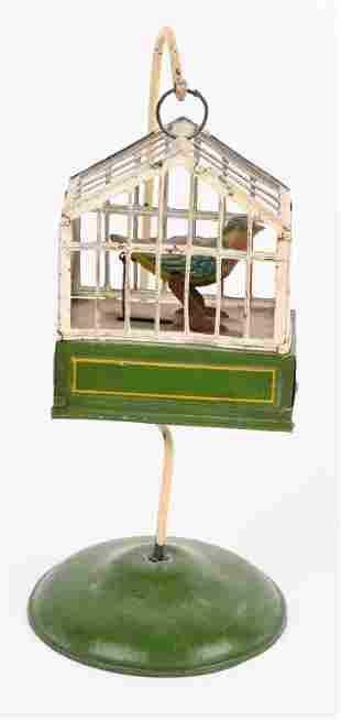 GERMAN TIN WINDUP BIRD IN CAGE
