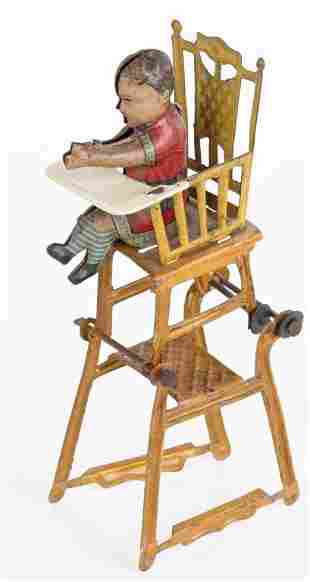 GERMAN PENNY TOY BABY IN HIGH CHAIR