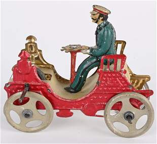 GERMAN EARLY PENNY TOY AUTO WITH FLYWHEEL MECH