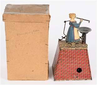 GERMAN TIN CLOCKWORK GIRL BLOWING BUBBLES w/ BOX