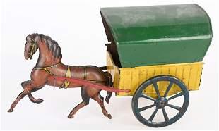 GERMAN TIN HORSE DRAWN WAGON