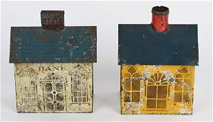2- EARLY AMERICAN TIN PAINTED HOUSE BANKS