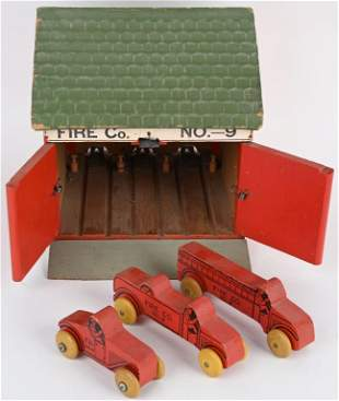 VINTAGE TOY FIRE STATION w/ 3 VEHICLES