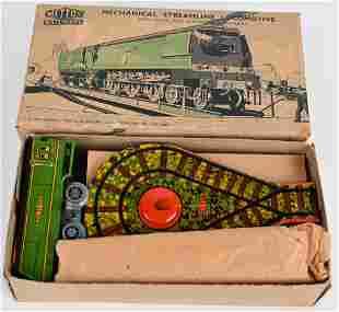 METTOY TIN WINDUP STREAMLINE LOCOMOTIVE, w/ BOX