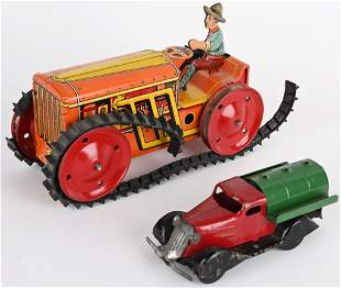 2- VINTAGE MARX TOYS, TRACTOR & TRUCK