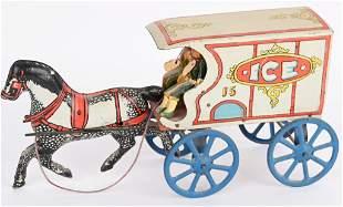 EARLY CONVERSE TIN HORSE DRAWN ICE WAGON