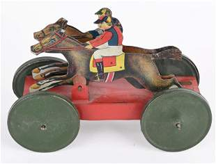 EARLY TIN RACE HORSES PULL TOY