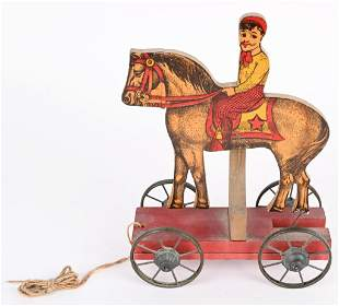 EARLY GIBBS HORSE DRAWN & RIDER PULL TOY