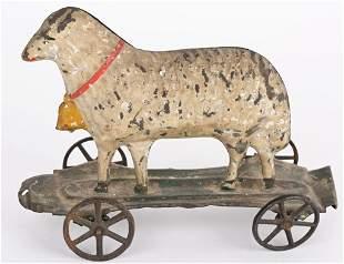 AMERICAN TIN 1870'S ALTHOF BERGMANN SHEEP TOY