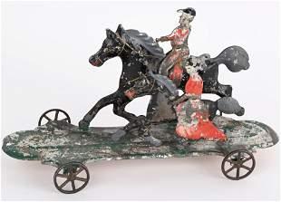 AMERICAN TIN HULL & STAFFORD 2 HORSES & RIDERS