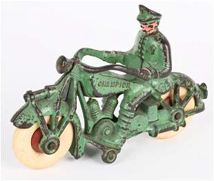 CHAMPION CAST IRON LARGE SIZE GREEN MOTORCYCLE