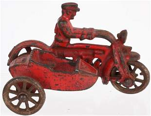 HUBLEY CAST IRON COP MOTORCYCLE w/ SIDECAR