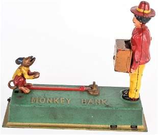 HUBLEY MONKEY & ORGAN GRINDER MECHANICAL BANK