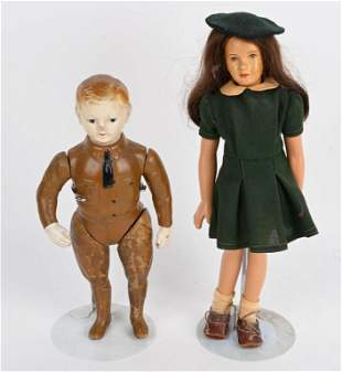 VINTAGE GIRL SCOUT AND SOLDIER DOLLS