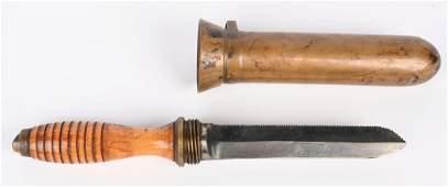 WWII US NAVY MKV DIVERS KNIFE W BRASS SCABBARD WW2