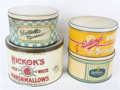 4- HICKOK'S, SHOTWELL'S, MORE MARSHMALLOW TINS