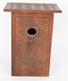 EARLY CHIP CARVED BIRD HOUSE