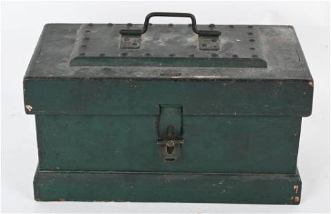 EARLY GREEN PAINTED WOOD STRONG BOX