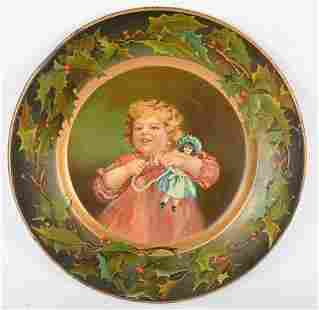 CD KENNEDY PREMIUM TIN CHRISTMAS TRAY WITH CHILD