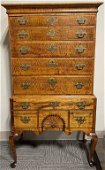 18th CENT. TIGER MAPLE CONNECTICUT HIGHBOY