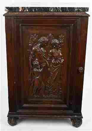 MARBLE TOP END TABLE w/ CARVED PANEL DOOR