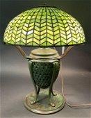 TIFFANY STUDIOS HERRING BONE LEADED GLASS LAMP