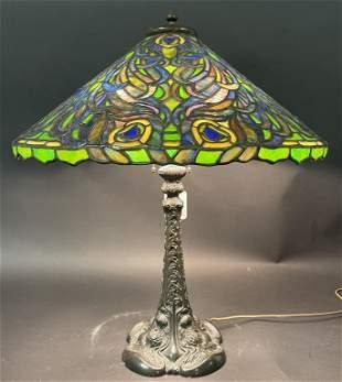 DUFFNER & KIMBERLY PEACOCK LEADED GLASS LAMP