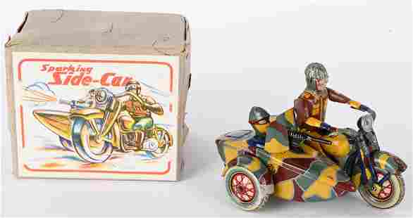 JAPAN FRICTION MOTORCYCLE & SPARKING SIDECAR w/BOX