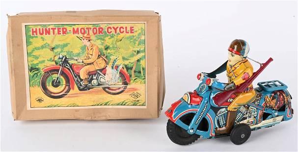 JAPAN TIN FRICTION HUNTER MOTORCYCLE w/ BOX