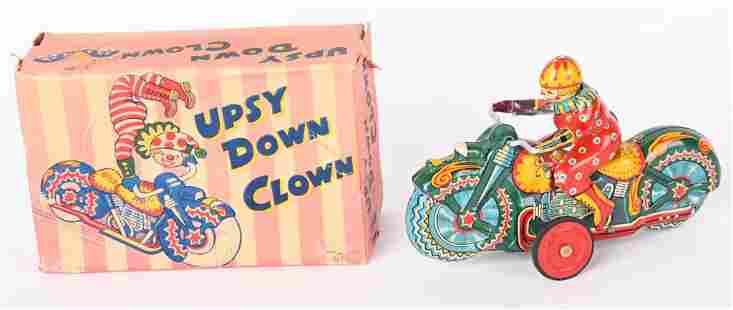 JAPAN TIN FRICTION UPSY DOWN CLOWN w/ BOX