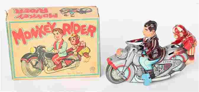 JAPAN TIN WINDUP MONKEY RIDER MOTORCYCLE w/ BOX