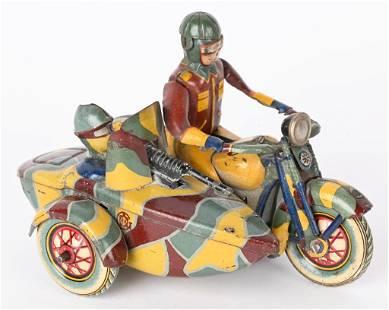JAPAN TIN WINDUP MILITARY MOTORCYCLE & SIDECAR