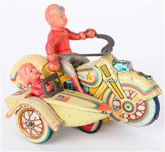 OCCUPIED JAPAN TIN & CELLULOID FRICTION MOTORCYCLE