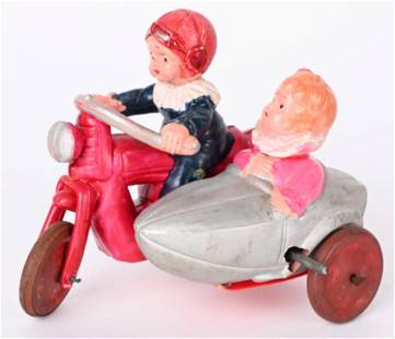 JAPAN CELLULOID WINDUP MOTORCYCLE & SIDECAR