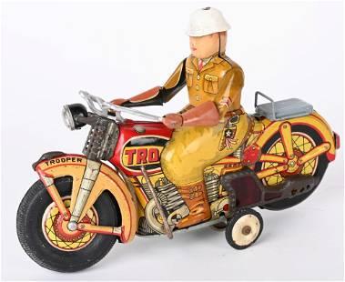 JAPAN TIN FRICTION TROOPER MOTORCYCLE