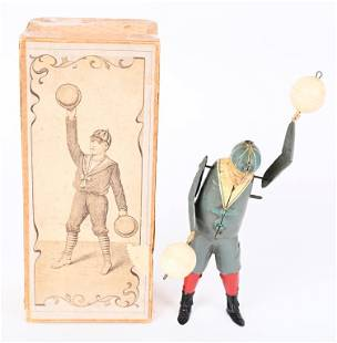 BING TIN WINDUP BOY TWIRLING BALLS w/ BOX
