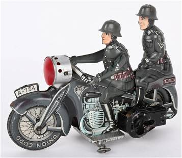 CKO TIN WINDUP DOUBLE RIDER MILITARY MOTORCYCLE