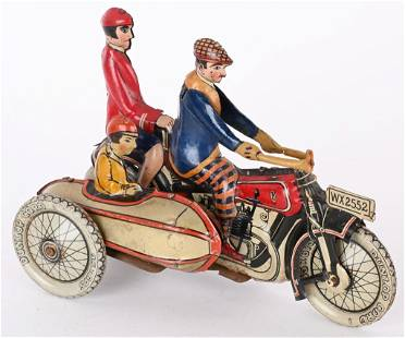 GELY TIN WINDUP DOUBLE RIDER MOTORCYCLE & SIDECAR