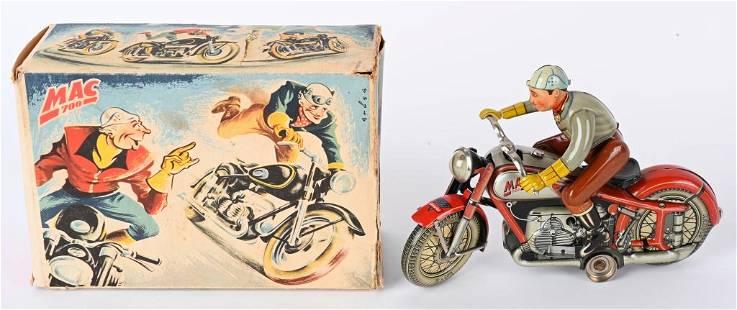 ARNOLD TIN WINDUP MAC 700 RED MOTORCYCLE w/ BOX