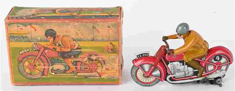 GERMAN TIN WINDUP RACING MOTORCYCLE w/ BOX