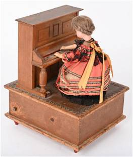 BISQUE VICTORIAN LADY PLAYING MUSIC BOX PIANO