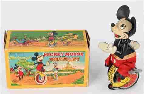 LINEMAR TIN WINDUP MICKEY MOUSE UNICYCLE w/ BOX