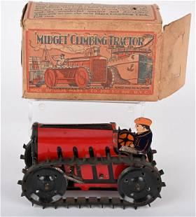 MARX TIN WINDUP MIDGET CLIMBING TRACTOR w/ BOX