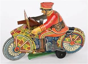 MARX TIN WINDUP MILITARY MOTORCYCLE