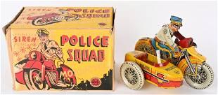 MARX TIN WINDUP SIREN POLICE MOTORCYCLE w/ BOX